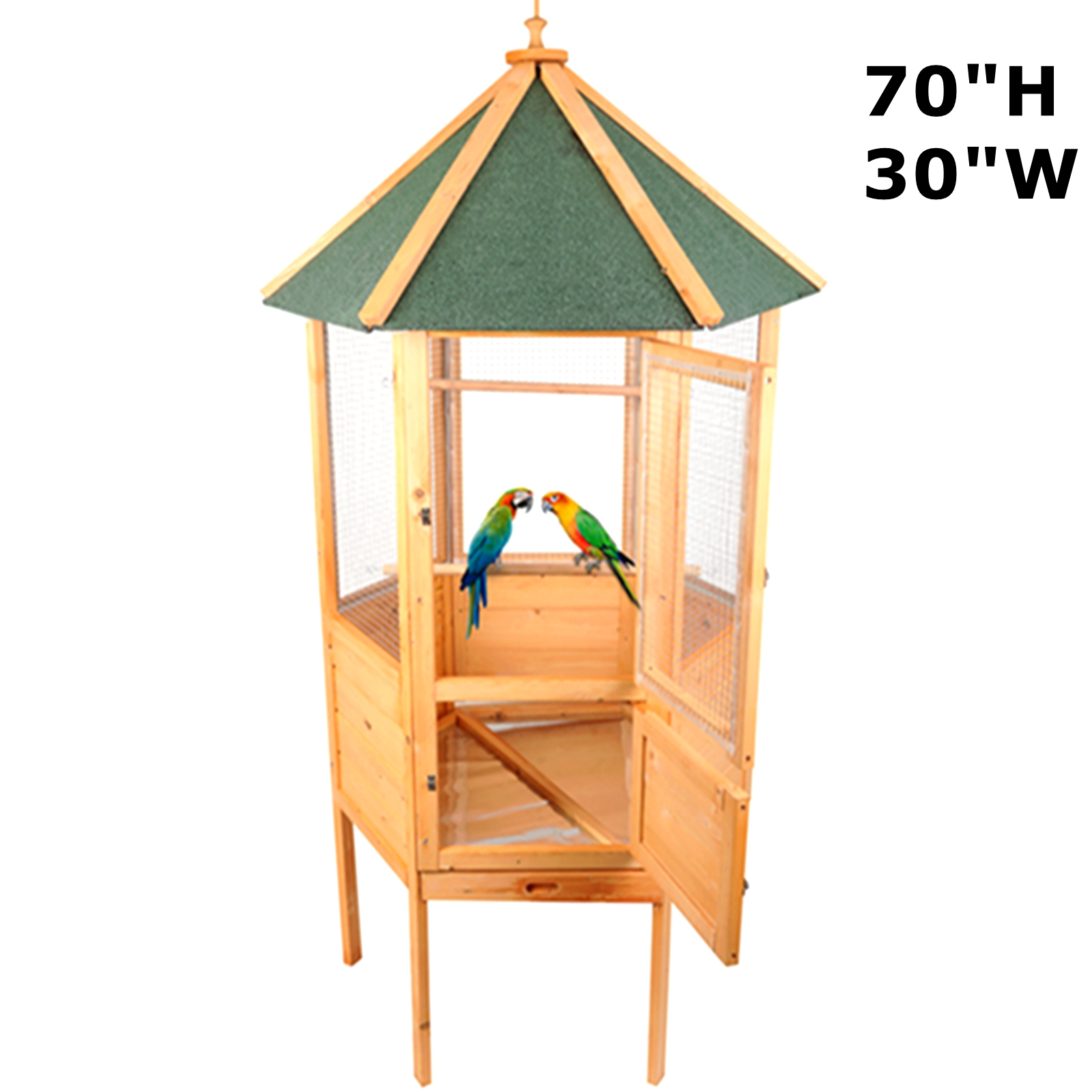 """Magshion 70"""" Stunning Wooden Aviary Hexagonal House Bird Cage with Feed Door, Perch,Trays"""