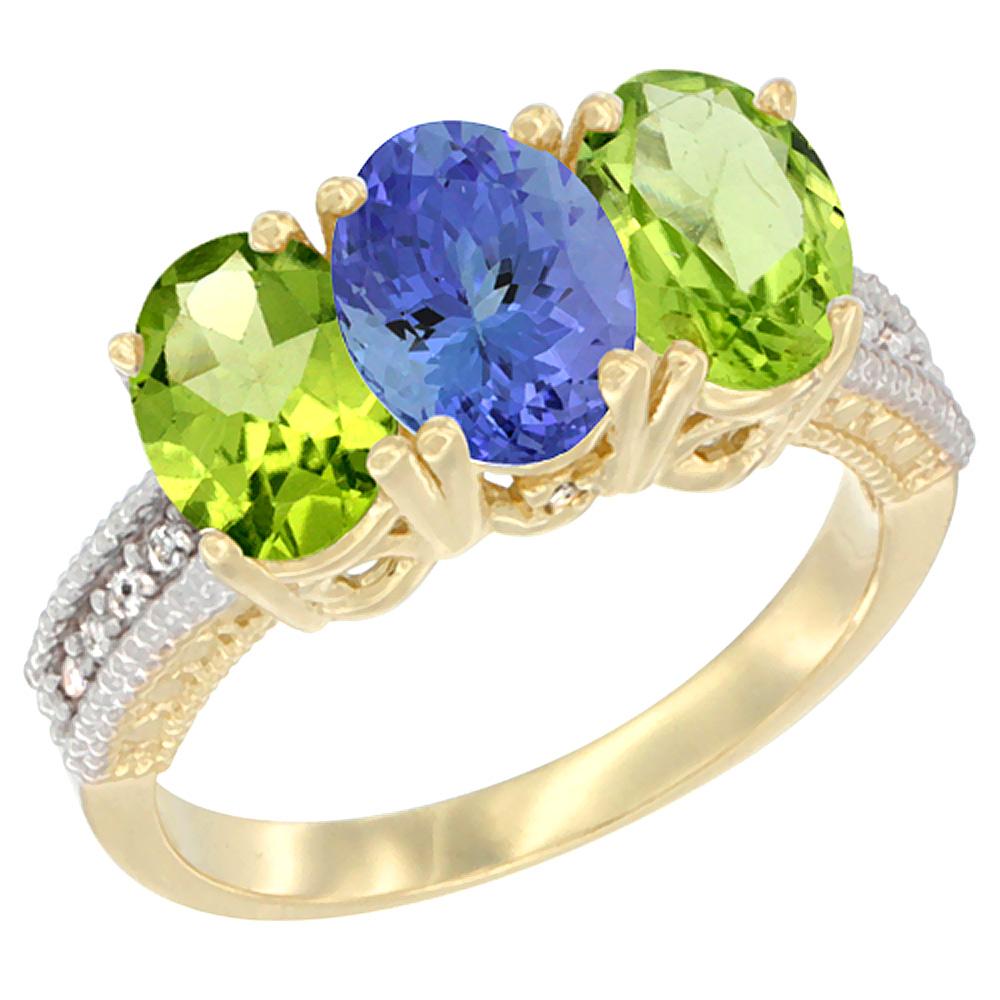 10K Yellow Gold Natural Tanzanite & Peridot Ring 3-Stone Oval 7x5 mm, sizes 5 10 by WorldJewels