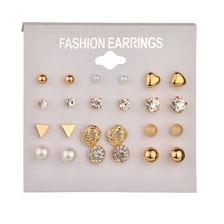 outdoorline 12 Pairs Rhinestone Geometric Shaped Women Girl Earrings Ear Studs Alloy Earrings Jewerly - image 1 de 9