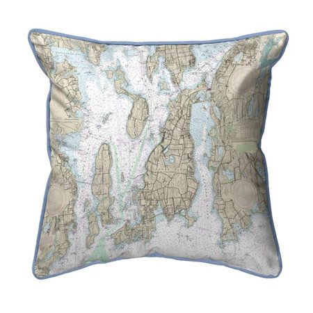 Betsy Drake ZP13221NP 20 x 24 in. Narragansett Bay, RI Nautical Map Extra Large Zippered Indoor & Outdoor Pillow - image 1 of 1