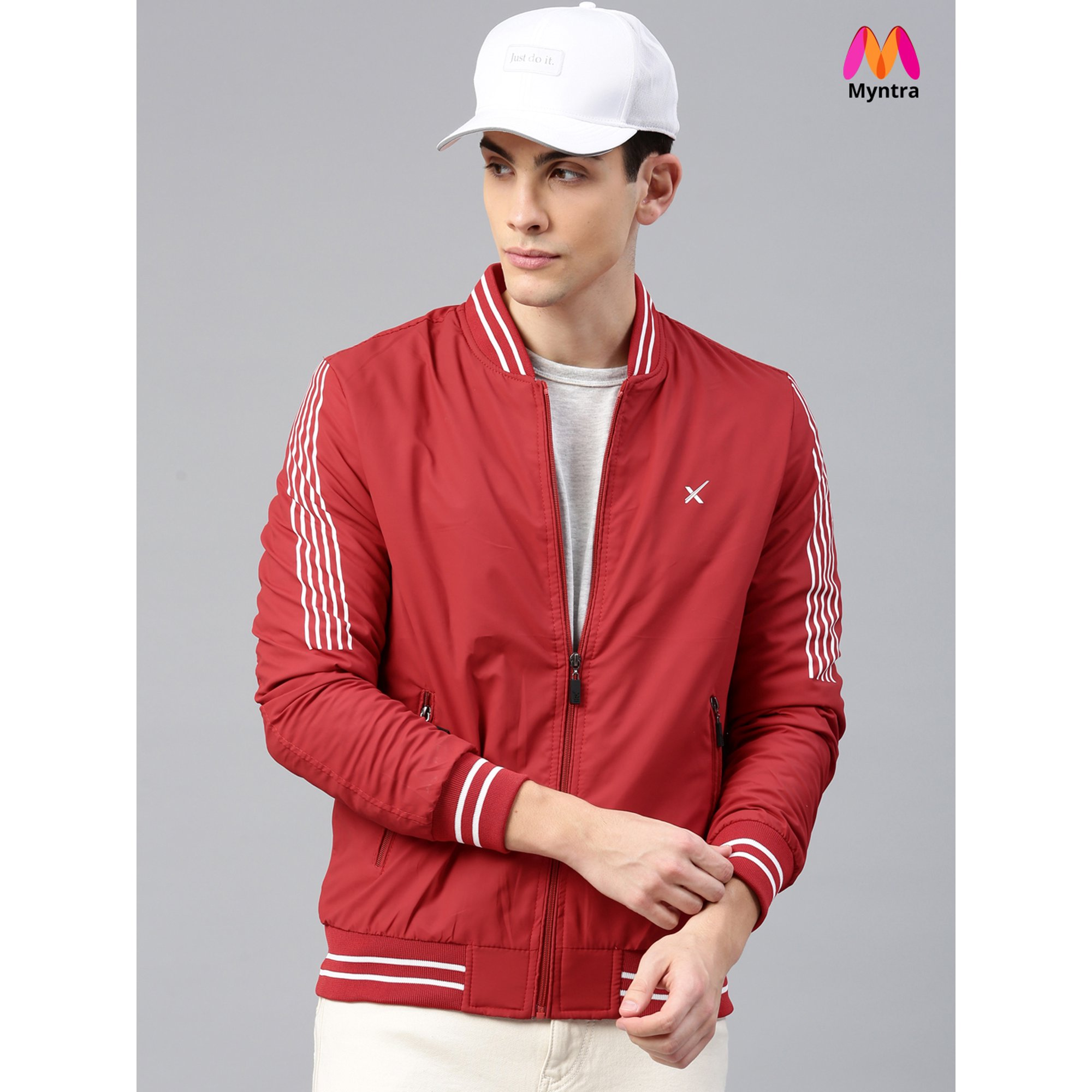 cheap for discount ab517 c1c5e HRX by Hrithik Roshan Men Red Solid Bomber   Walmart Canada