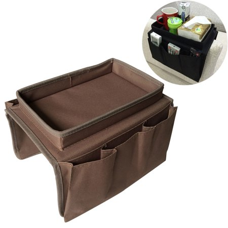 Sofa Armrest Organizer with 4 Pockets and Cup Holder Tray Couch Armchair Hanging Storage Bag for TV Remote Control Cellphone Magazine Drinks Snacks - Armrest Cup Holder