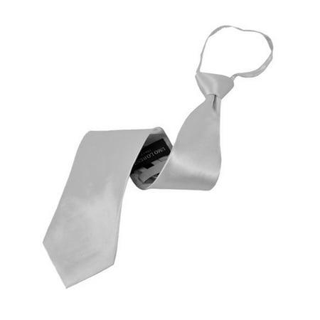 Men's Silk Solid Color X-Long Pre-tied Zipper Neck Tie Black Striped Silk Necktie