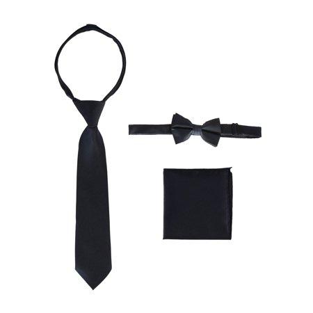 Bow Tie Pocket - Gioberti Boys Navy Solid Zipper Necktie Bow Tie Pocket Square 3 Pc Set