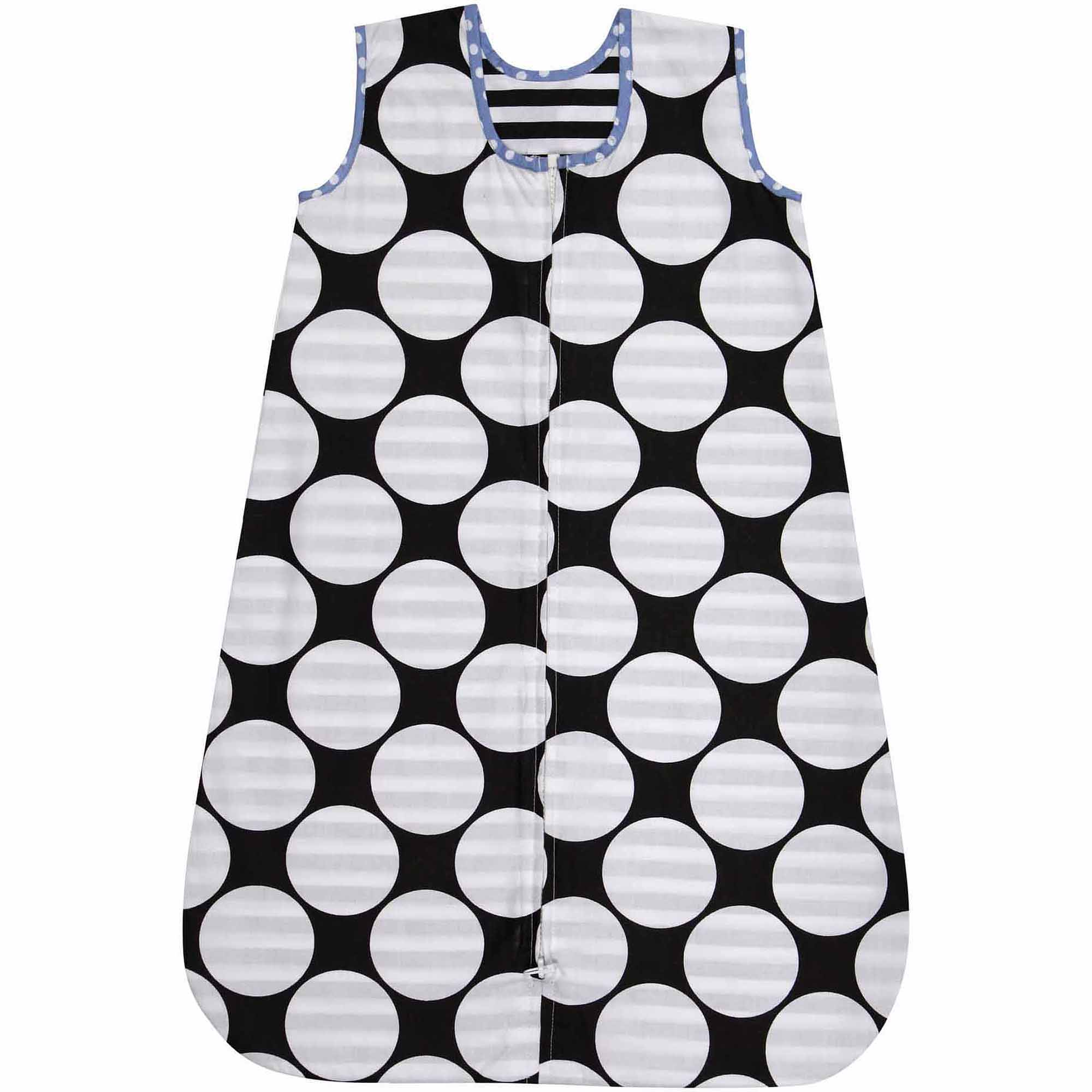 Bacati - Dots/Pin Stripes Pin Dots 100% Cotton Percale Sleep Sack 1, Black/White with Blue