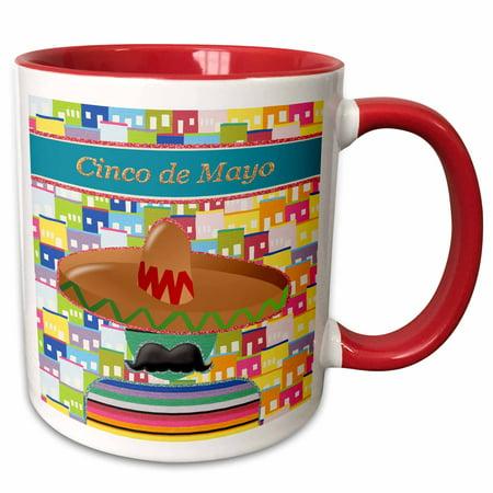 3dRose Big Sombrero, Big Mustache in Colorful Poncho, Cinco de Mayo - Two Tone Red Mug, 11-ounce for $<!---->
