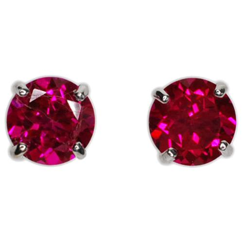 Kabella 14k Gold Created Ruby Round Solitaire Earrings 14k White Gold