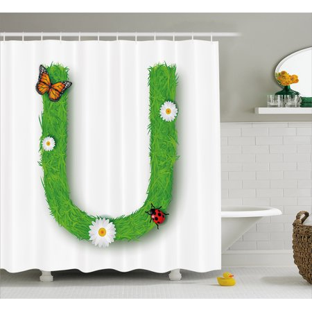 Letter U Shower Curtain, Capital U with Daisy Petals Ladybug Garden Blossoms Girls Nursery Theme, Fabric Bathroom Set with Hooks, 69W X 84L Inches Extra Long, Green Multicolor, by (Ladybug Nursery Set)