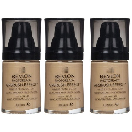 Revlon Photoready Airbrush Effect Makeup Foundation Natural Beige #005 (Pack of 3) + Makeup Blender Stick, 12