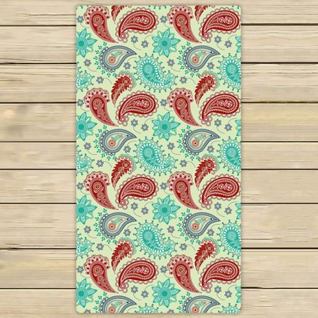 ZKGK Paisley Flower Floral Hand Towel Bath Towels Beach Towel For Home Outdoor Travel Use Size 30x56 (Paisley Beach Towel)