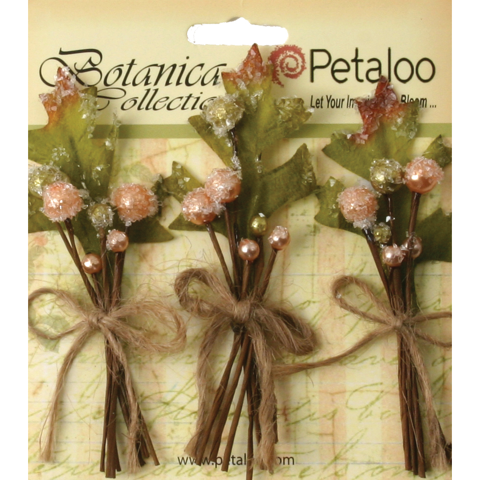 Petaloo Botanica Sugared Berry Clusters, 3.25-Inch, Peach, 3-Pack Multi-Colored