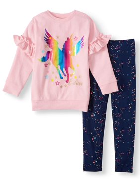 Freestyle Revolution Fleece Ruffle Sleeve Top & Printed Leggings, 2pc Outfit Set (Toddler Girls)