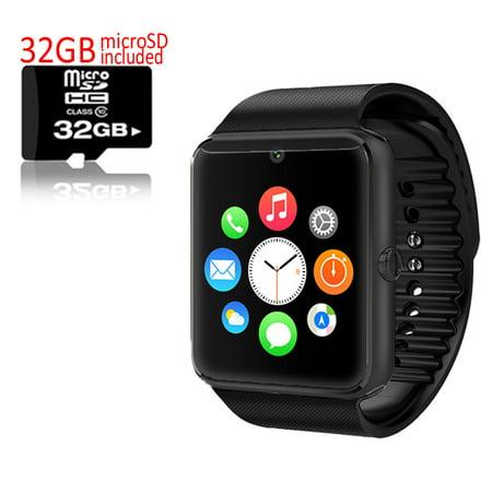 Indigi  Black Gt8 Bluetooth Smartwatch   Phone W  Pedometer   Sedentary Reminder   Camera W  32Gb Microsd Included