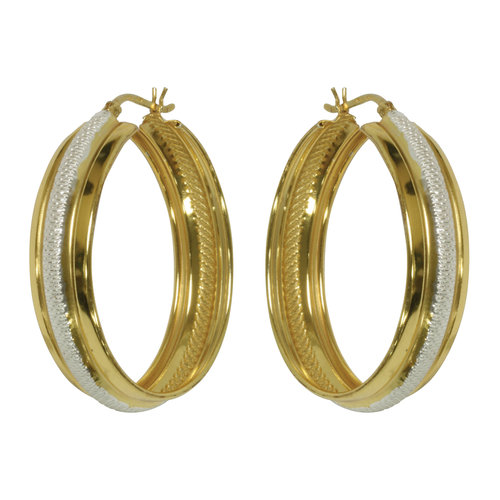 Forever New White/Yellow Gold Tone Large Polished/Ribbed Hoop Earrings