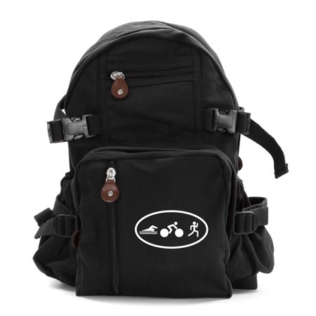 Triathlon Logo Swim Bike Run Cycling Army Sport Heavyweight Canvas Backpack