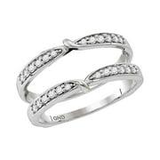14kt white gold womens round diamond ring guard wrap enhancer wedding band 14 cttw