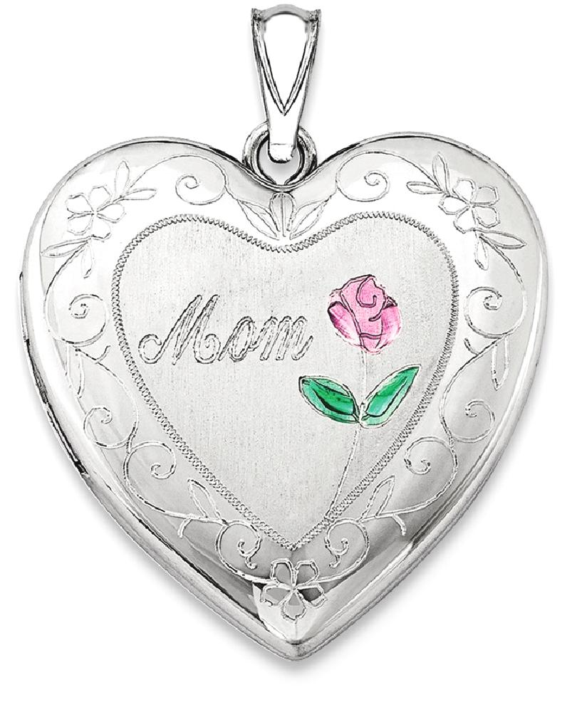 ICE CARATS ICE CARATS 925 Sterling Silver 24mm Enameled Mom Heart Photo Pendant Charm Locket Chain Necklace That Holds... by IceCarats Designer Jewelry Gift USA