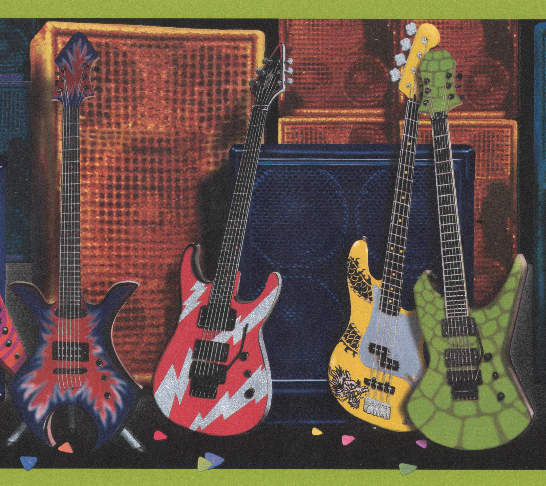 Colorful guitars loudspeakers subwoofers wide wallpaper - Guitar border wallpaper ...