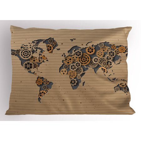 Modern pillow sham ancient old hipster contemporary image of world modern pillow sham ancient old hipster contemporary image of world map with clock wheel art print gumiabroncs Gallery