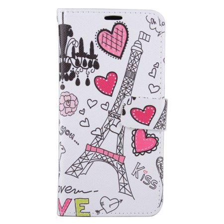 EagleCell Hearts Folio Leather Fabric Card Holder Stand Case For Samsung Galaxy S6 Edge Plus