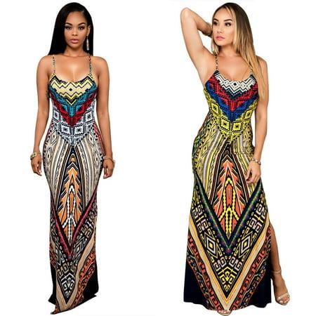 Womem Print Dashiki Dress High Split Strap Plus Size Boho Dress - Hippie Dashiki