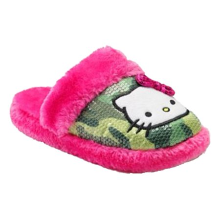 Womens Plush Green Cammo Sequin & Pink Faux Fur Hello Kitty Slippers Small 5-6