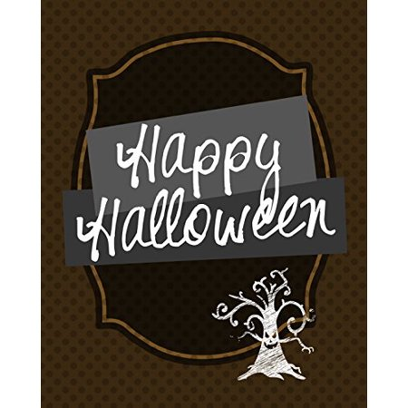 Happy Halloween Print Scary Tree Picture Brown Polka Dot Design Background Wall Decoration Seasonal Poster (Not So Scary Halloween Dates)