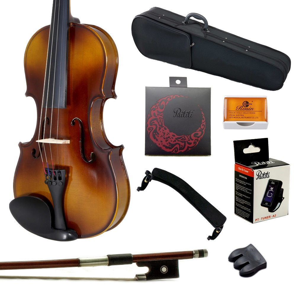 Paititi 3/4 Size Solid Wood Student Violin Complete Package w Case Bow Rosin