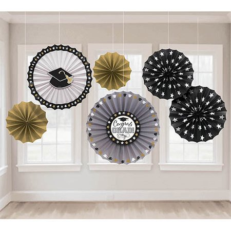 Grad Paper Fan Decorations, 6ct](Chinese Paper Fan)