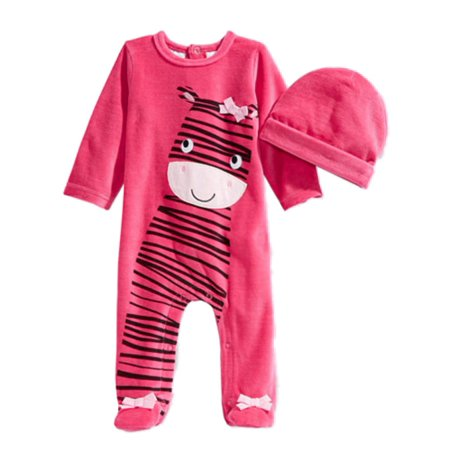 First Impressions Infant Girls 2 PC Plush Zebra Jumpsuit Sleeper Hat - Zebra Outfit