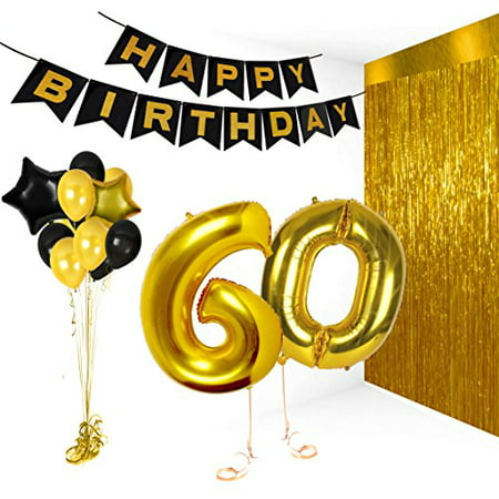 Birthday Decorations Happy Bday Banner Party Kit Pack B-day Celebration Supplies with Gold and Black Stars Balloons + Extra Large Golden Fringe Curtain for Men or Women (60th) - Black And Gold 60th Birthday Decorations