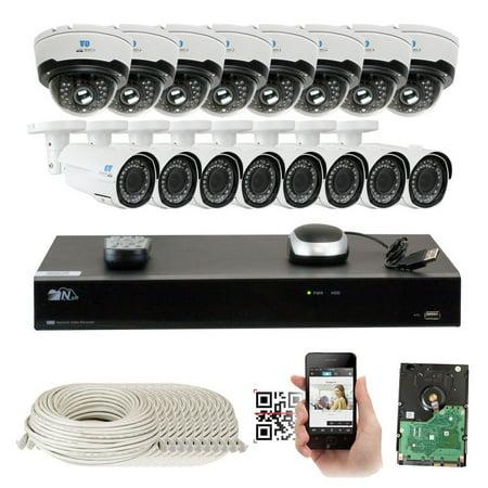 16 Channel H.265 4K 8MP NVR 4-Megapixel (2592 x 1520) Network PoE Security System - 16 x 4MP 1536p @ 30fps Realtime 2.8-12mm Varifocal Zoom POE Weatherproof Bullet & Dome IP Cameras