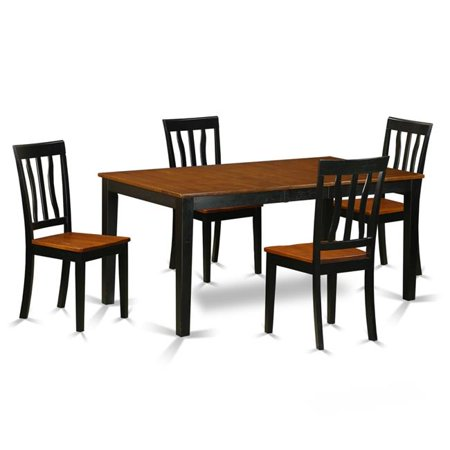 East West Furniture Nian5 Bch W Wood Seat Kitchen Table Set Dining 4 Solid Chairs 44 Black Cherry 5 Piece