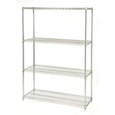 Seville Classics 4 Shelf Steel Wire Shelving System