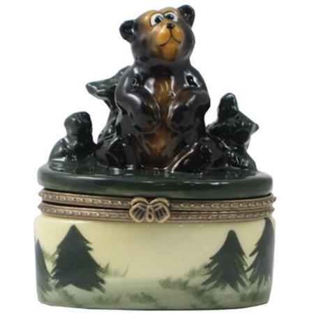 Wild Wonders Bear Porcelain Hinged Trinket Box Phb