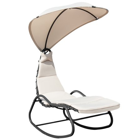 Topbuy Outdoor Chaise Hanging Chair Swing Cushioned Canopy Lounger