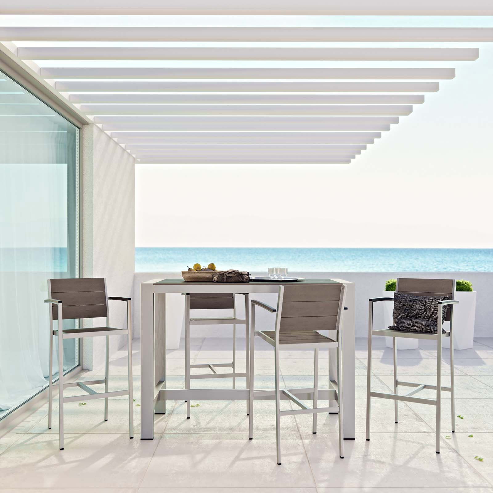 Modway Shore 5-Piece Outdoor Patio Aluminum Dining Set, Silver Grey