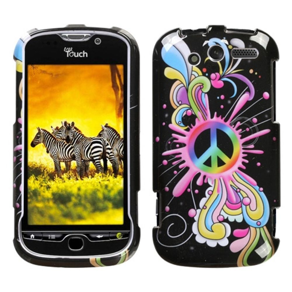 Insten Peace Pop Hard Cover Case For HTC MyTouch 4G - Colorful/Black