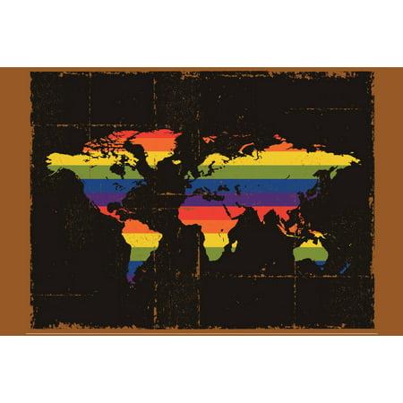 Gay pride lgbt transgender lesbian rainbow decorative world map gay pride lgbt transgender lesbian rainbow decorative world map poster 18x12 inch gumiabroncs Gallery