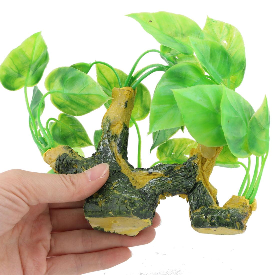 Aquarium Ceramic Base Plastic Artificial Landscap Water Plant Decor Green Yellow - image 2 de 3