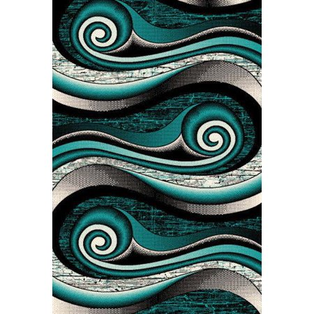 JEWEL 3D Hand Carved Modern Contemporary Abstract 5X8 5x7 Rug 11218 Turquoise