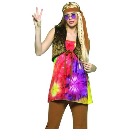 60s Hippie Girl Pants Set 70s Outfit Halloween Costume Womens US Standard - 60s Hippie Girl