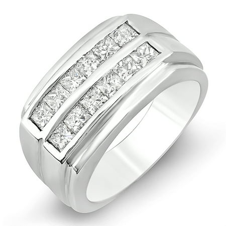 14k Mens Diamond Rings - 1.35 Carat (ctw) 14k White Gold Princess Diamond Mens Anniversary Wedding Band Ring