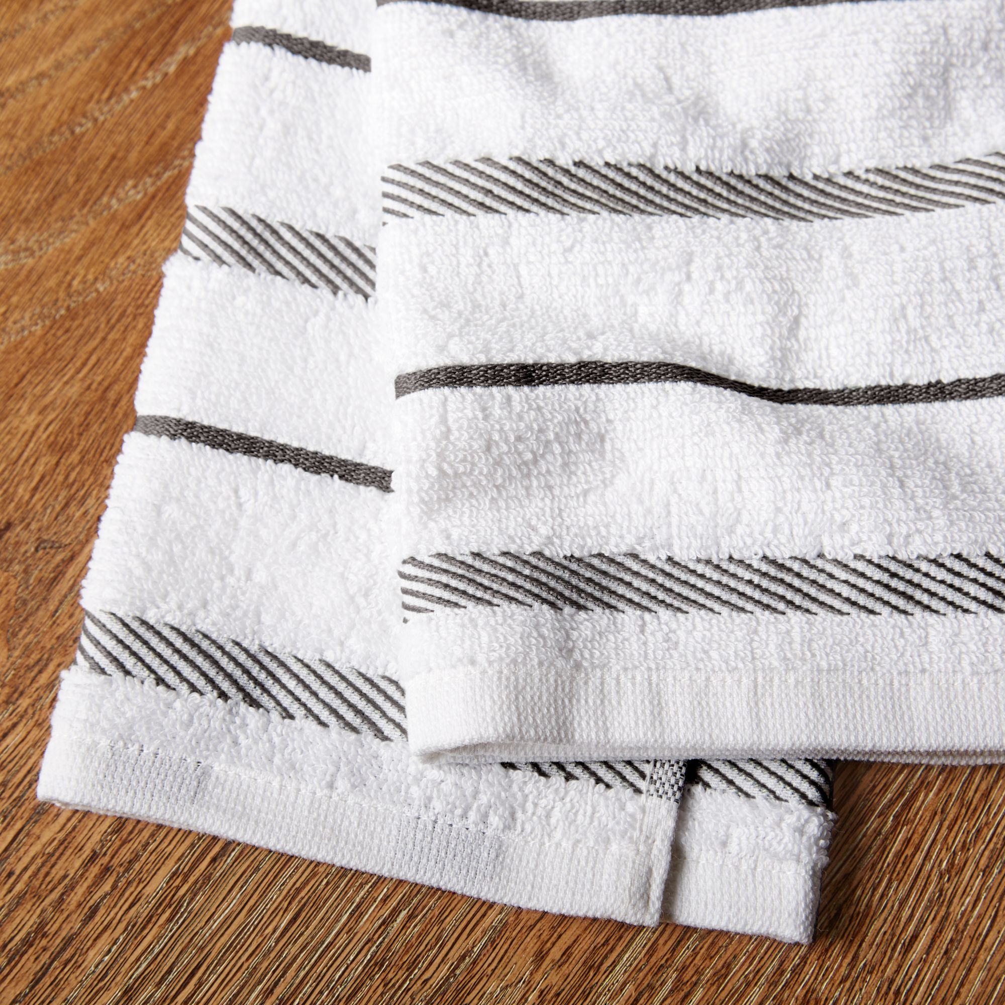 New KitchenAid Set of Two Navy Blue and White Stripped Plush Kitchen Towels