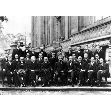 1927 Solvay Conference On Quantum Mechanics Rolled Canvas Art     8 X 10
