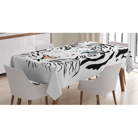 Tattoos Of Love (Tattoo Decor Tablecloth, Language of Love Musical Note Inspiration on Sheet with Rose Hearts, Rectangular Table Cover for Dining Room Kitchen, 52 X 70 Inches, White Black and Pink, by)