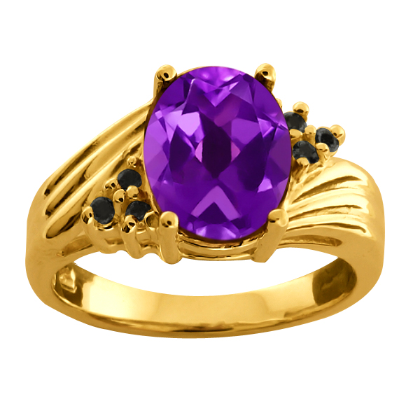 1.76 Ct Oval Purple Amethyst Black Diamond 925 Yellow Gold Plated Silver Ring