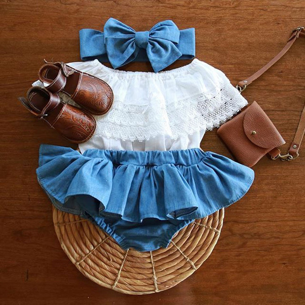 Fashion Toddler Kid Baby Girls Lace Ruffel Tops+Denim TuTu Dress Outfits Clothes