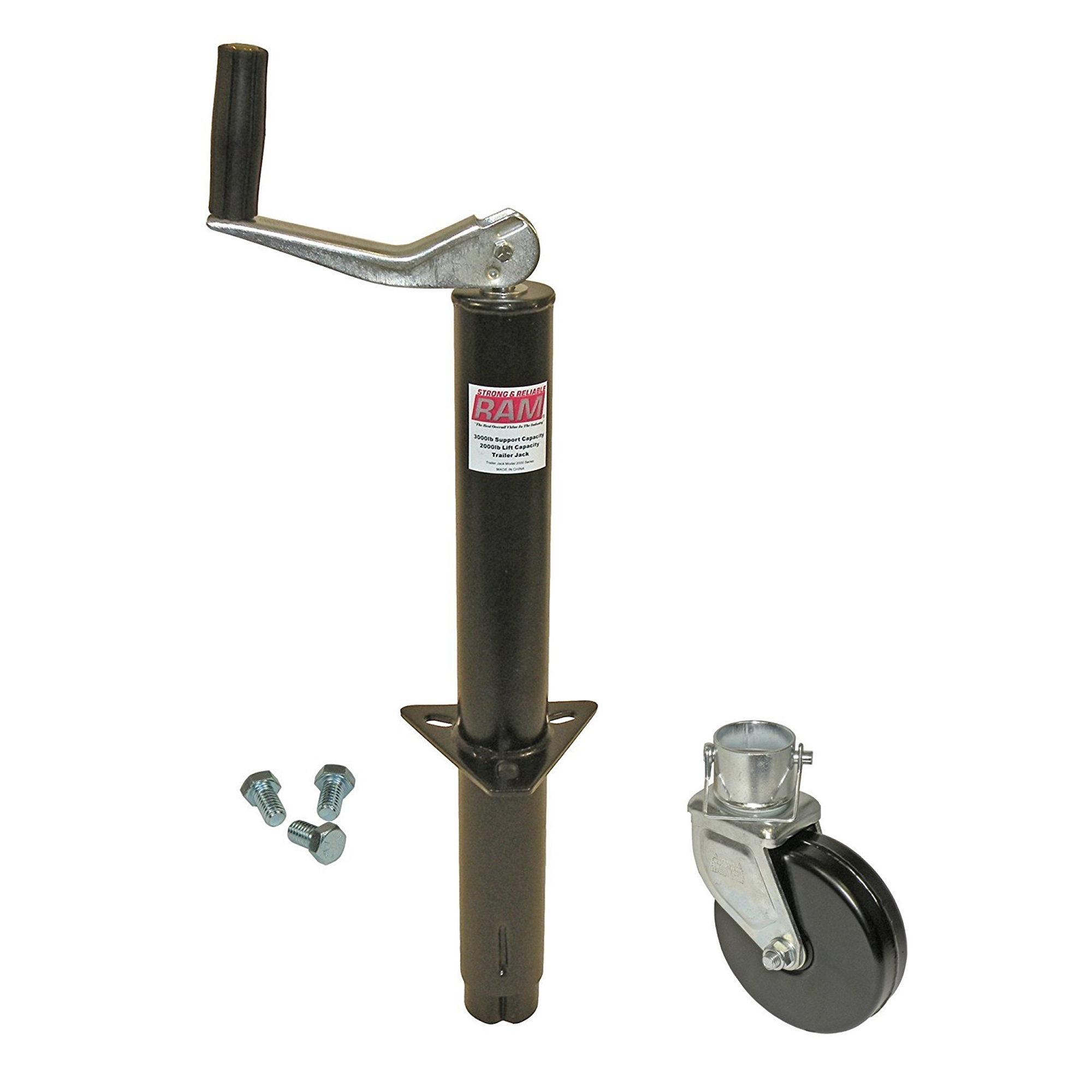 Click here to buy A-Frame Trailer Jack with Steel Wheel and Mounting Hardware by RAM Game Room.