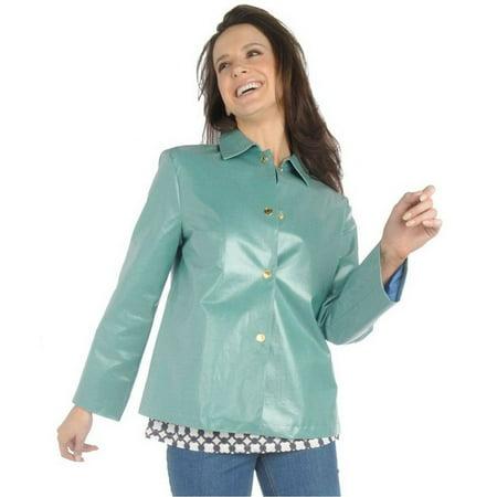 Liz Claiborne Coated Chambray Swing Jacket - Pleated Swing Coat